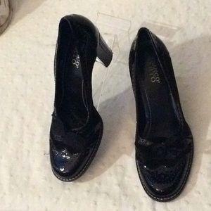Franco Sarto Black p/leather & velvet heels # 8.5M